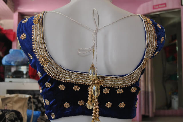 Latest Velvet saree blouse designs